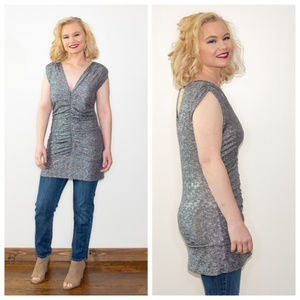 Vintage Metallic Silver Ruched Tunic Large